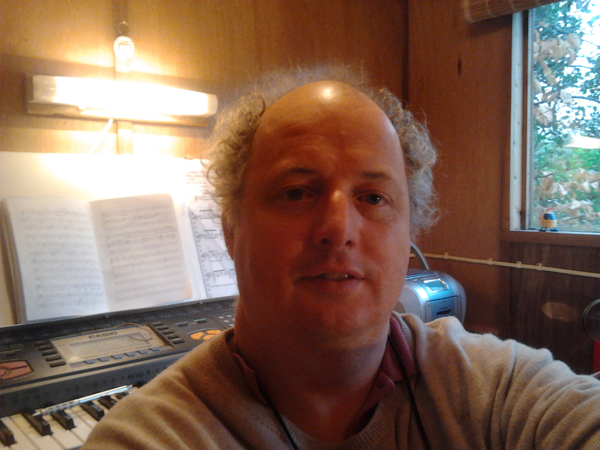 Working in my composing shed